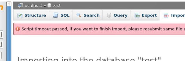 Timeout error in phpMyAdmin during import database from file